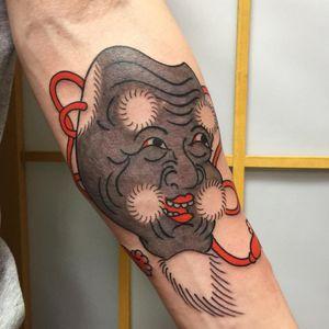 Tattoo by Sergey Buslay #SergeyBuslay #tattoodoambassador #Japanese #irezumi #nohmask #nohtheater #mask #noh #portrait #face