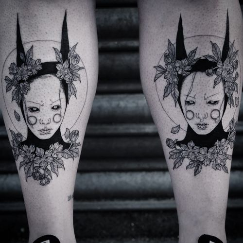 Tattoo by Ruby Wolfe #RubyWolfe #favoritetattoos #blackwork #illustrative #portrait #ladyheads #flowers #leaves #nature #surreal