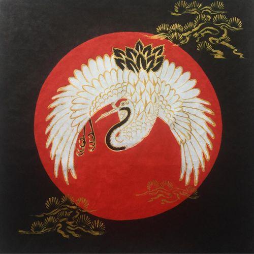 Tattoo by Sergey Buslay #SergeyBuslay #tattoodoambassador #Japanese #irezumi #crane #birds #feathers #wings #trees #illustration #painting