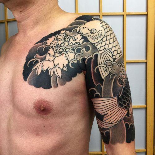Tattoo by Sergey Buslay #SergeyBuslay #tattoodoambassador #Japanese #irezumi #waves #koi #fish #peony #flower #floral #leaves
