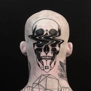 If death tripped on Acid. Tattoo by Louis Loveless #louisloveless #blackandgreytattoos #blackwork #Linework #illustrative #graphicart #popart #skull #death #smileyface #acid #trippy #glitch #psychedelic
