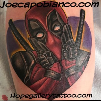 Had a bunch of fun tattooing this lil Deadpool piece today. She came in on the day of our Deadpool flash pop up last week and wasn't able to get in that afternoon. So she came back and we whipped this one up. It's a bit small and was difficult to get a nice shot. Thanks for lookin. #lookmomnoboobs #easyglowtattoopigments #hopegallerytattoo #hivecaps #saniderm #electrapop #Deadpool #itsafriendshipnotasponsorship