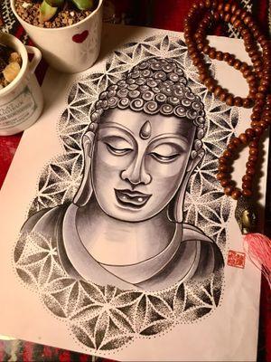 #buddhatattoo #buddhafacetattoo #buddhaface #tattoodesign #copicmarkers #spiritualtattoo #floweroflifetattoo #orientaltattoo #hongkongtattoo #hongkongtattooartist #如來