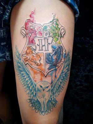 Tatuagem realizada no estudio: Love Tattoo - Ribeirão Preto SP #watercolortattoos #watercolortattoo #HarryPotterTattoos #harrypottertattoo #harrypotter #hogwarts #Edwiges #tatuagemaquarela