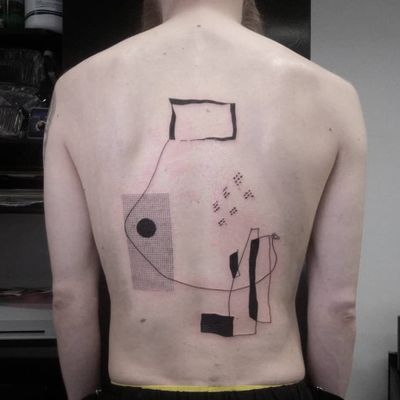 Abstractism. Tattoo by Andrey Volkov #AndreyVolkov #blackandgreytattoos #linework #illustrative #shapes #drawing #dotwork #blackwork #avantgarde #circle