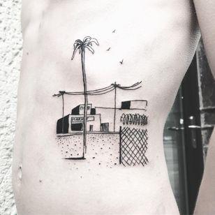 Desolate landscapes. Tattoo by Nils Goldgrund #NilsGoldgrund ##blackandgreytattoos #blackwork #linework #illustrative #ignorantstyle #landscape #palmtree #buildings #barbedwire