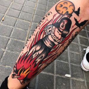 Burning Witch via Insta - chuligonzaleztattooer              #witch #salem #burningwitch #witchtattoo #gothictattoo #Gothic #traditional #traditionaltattoo #ink #fire #inked #TraditionalArtist #tattooartist #trad #traditionalamerican #ChuliGonzalez #girl #ClassicTattoo