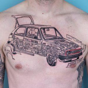 Tattoo by Oozy #Oozy #cartattoos #linework #illustrative #fineline #car #volkswagen #wheels #gears #mechanical #mechanic