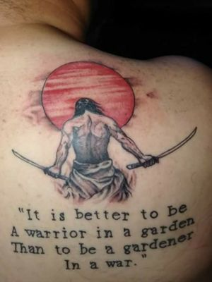 Samurai done on my right shoulder... This was done by two different artist