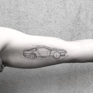 Tattoo by Jack Poohvis #JackPoohvis #cartattoos #illustrative #linework #fineline #dotwork #car #wheels #minimal