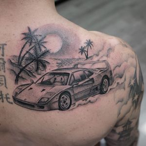 Tattoo by Simone De Masi #Simonedemasi #cartattoos #car #ferrari #sportscar #racecar #tropical #palmtrees #beach #vacation #clouds #smoke #sun #sky