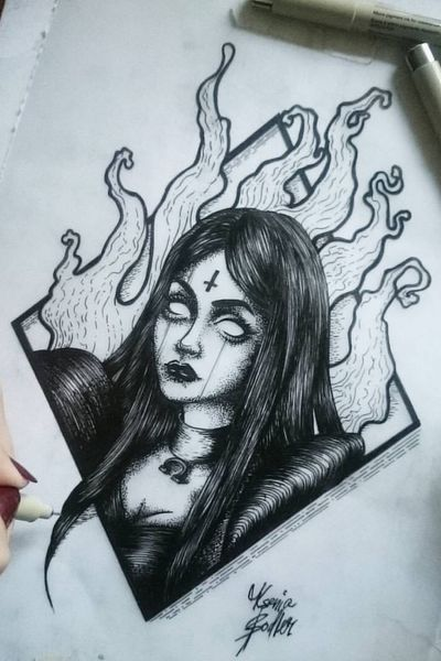 We?re all mad here #aliceinwonderland #alice #madness #fire #black #dots #lines #sketch