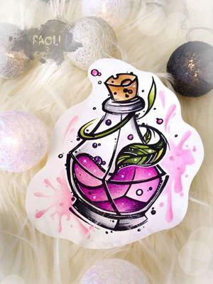 #bottle #poison #perfume #neotraditionaltattoos #design #watercolortattoos #paoli