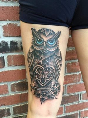 Back of thigh owl, locket heart and guarded key