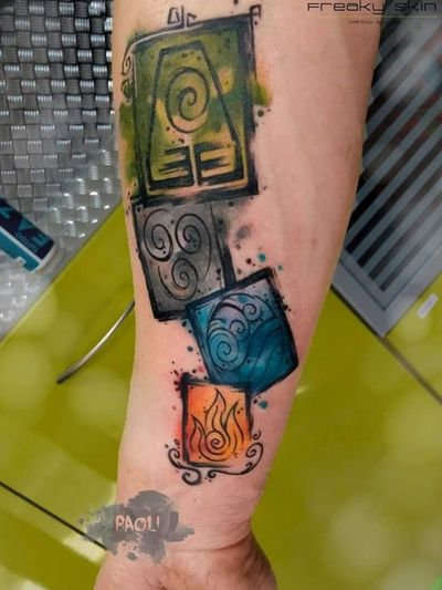 #tattoo #4elementsoflife #4elements #fire #air #water #earth #family #watercolortattoos #paoli