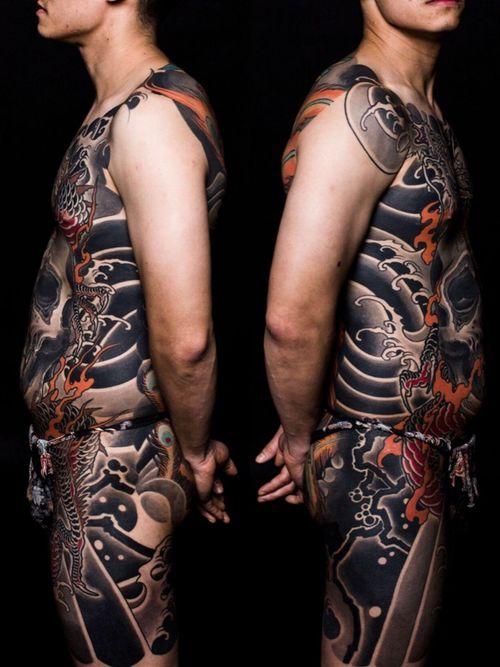 #skull #dragon #bodysuits #backpiece #japanesetattoo  #feathercloud #japanesetattoos #shanetan  #tattoo  #japaneseart #japanesetattooart #irezumi #wabori