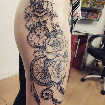 #rose #clock #dreamcatchertattoo
