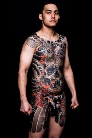 #skull #dragon #bodysuits #japanesetattoo  #feathercloud #japanesetattoos #shanetan  #tattoo  #japaneseart #japanesetattooart