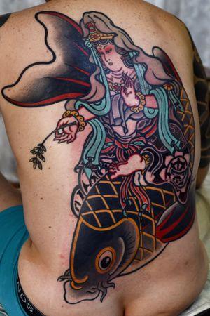 #kannon #goddessofmercy #bodysuits #backpiece #japanesetattoo #feathercloud #japanesetattoos #shanetan #tattoo #japaneseart #japanesetattooart #irezumi #wabori