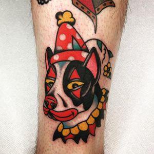Tattoo by Jason Ochoa #JasonOchoa #dogtattoos #color #traditional #clown #pitbull #daisy #flower #circus #dog #petportrait #funny #cute #polkadots