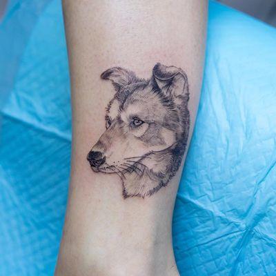 Tattoo by Oozy #Oozy #dogtattoos #linework #illustrative #dog #animal #husky #petportrait #drawing