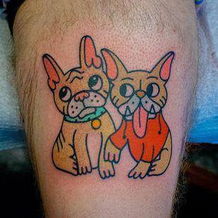 Tattoo by Michelle Wanhala #MichelleWanhala #dogtattoos #color #frenchpug #pugs #pug #animal #dog #cute #friends