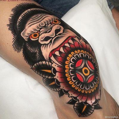 Gorilla Mandala via Insta - morstattoo #traditional #gorilla #mandala #mandalatattoo #traditionaltattoo #tattoo #tattooartist #morstattoo #TraditionalArtist #traditionalamerican #ink #kneetattoo #knee #inked #GorillaTattoo #tattoos #tattooed #color #art #artwork #Tattoodo