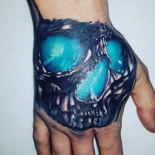 1. Part hand tattoo #skulltattoo #skulls #colortattoo