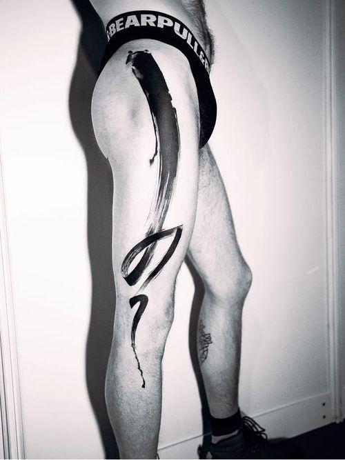 Tattoo by Tyna Majczuk #TynaMajczuk #painterly #watercolor #brushstroke #abstract #ink #blackwork #blackfill