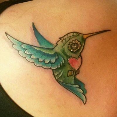 Day of the dead inspired hummingbird tattoo- Dia De Los Muertos #hummingbird #sugarskull #diadelosmuertos #bird #heart #dayofthedead #hummingbirdtattoo