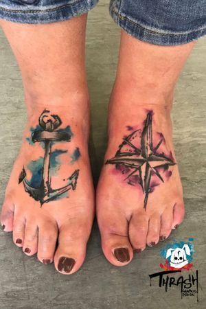 Thrash compass & anchor #anchor #compass #watercolor #sketch
