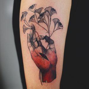 Tattoo by Dzo Lama #DzoLama #favoritetattoos #color #blackandgrey #redink #dotwork #Linework #illustrative #eyes #leaves #floral #hand #mudra #thirdeye #enlightenment #Buddhism #Buddha #nature