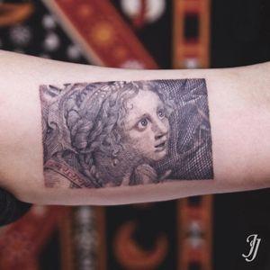 Tattoo by Jojo #Jojotattoo #favoritetattoos #etching #engraving #blackandgrey #linework #renaissance #woodcut #portrait #girl #lady #ladyhead #pattern #crosshatch #medieval #fineart