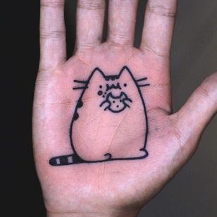 Tattoo by Mick Gore #MickGore #palmtattoos #blackwork #linework #palm #pusheen #cat #cookie #foodtattoo #cute