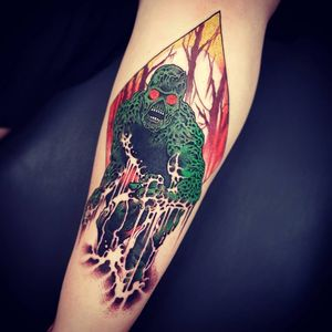 Tattoo by Onnie O'Leary #OnnieOLeary #newschool #color #illustrative #comicbook #scifi #surreal #strange #graphic #popart #swampthing #monster #swamp #thing