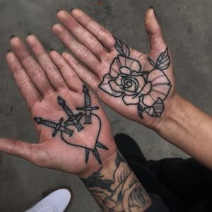 Tattoo by Mark Walker #MarkWalker #palmtattoos #blackwork #linework #palm  #illustrative #rose #leaves #flower #floral #heart #swords #threeofswords #knife