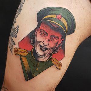 Tattoo by Onnie O'Leary #OnnieOLeary #newschool #color #illustrative #sniper #WorldWarII #worldwar #surreal #strange #graphic #popart #portrait #lady #LyudmilaPavlichenko