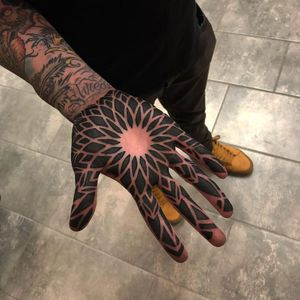 Tattoo by Ryan K Severe #severeink #palmtattoos #blackwork #linework #palm #mandala #sacredgeometry #floral #star #light