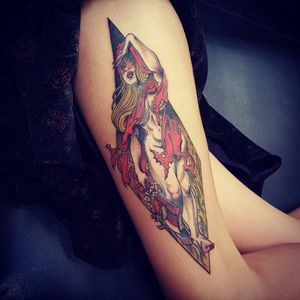 Tattoo by Onnie O'Leary #OnnieOLeary #newschool #color #illustrative #comicbook #scifi #surreal #strange #graphic #popart #fairytale #folklore #littleredridinghood #babe #lady #pinup #flowers #floral #hatchet