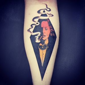Tattoo by Onnie O'Leary #OnnieOLeary #newschool #color #illustrative #comicbook #scifi #surreal #strange #graphic #popart #marlenedietrich #portrait #actrss #famous #smoking #cigarette