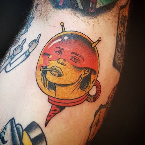 Tattoo by Onnie O'Leary #OnnieOLeary #newschool #color #illustrative #comicbook #scifi #surreal #strange #graphic #popart #astronaut #space #smoking #cigarette