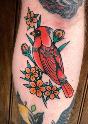 Perched cardinal #cardinaltattoo #birdtattoo #neotraditional #traditional