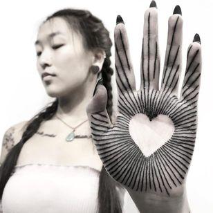 Tattoo by Koldonovella #Koldonovella #palmtattoos #blackwork #linework #palm #illustrative #heart