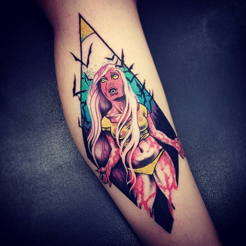 Tattoo by Onnie O'Leary #OnnieOLeary #newschool #color #illustrative #comicbook #scifi #surreal #strange #graphic #popart #vamppire #bats #blood #babe #pinup #lady #horror #darkart