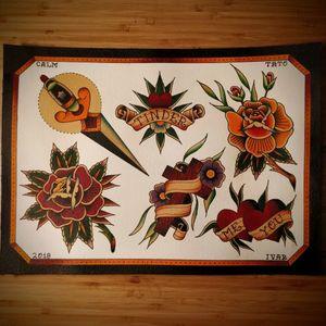 Traditional old school flash heart flower cross tinder dagger rose