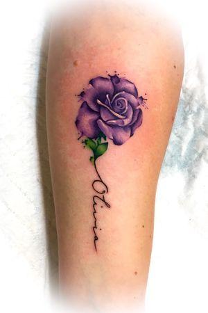 Purple watercolour rose and handwritten script on the forearm #watercolortattoo #rosetattoo #handwritten