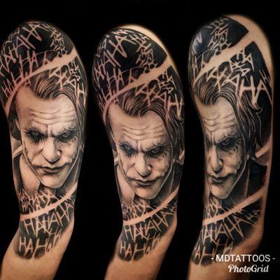 Completed this in 2 day sessions #joker #batmanjoker #jokertattoo #batmantattoo #dccomics #comicportrait #portrair #jokerportrait