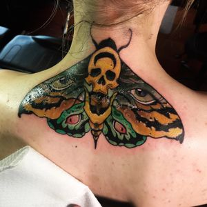 Cover up moth on the back of the neck! #mothtattoo #neotraditional #vault13tattoo