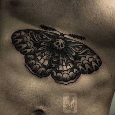 Tattoo by Adam Chenko Alexey #adamchenkoalexey #deathmothtattoos #blackandgrey #death #moth #wings #insect #animal #eyes #darkart #skull