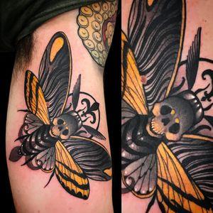 Tattoo by Vale Lovette #ValeLovette #deathmothtattoos #color #neotraditional #moth #insect #death #skull #animal #nature #Artnouveau #ornamental